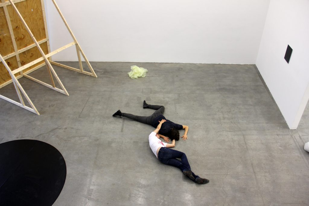 I am not quite sure. This is an arduous terrain (2013). Here Malin Arnell with Ulrike Müller.